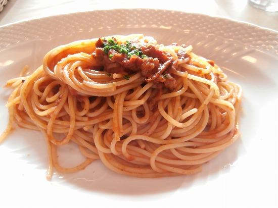 スパゲッティ イカミンチトマトソース