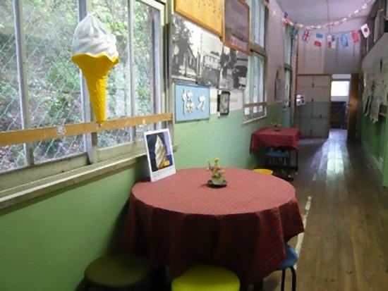 食堂前の廊下は喫茶コーナーになっていました。ソフトクリームの看板がかわいい~!