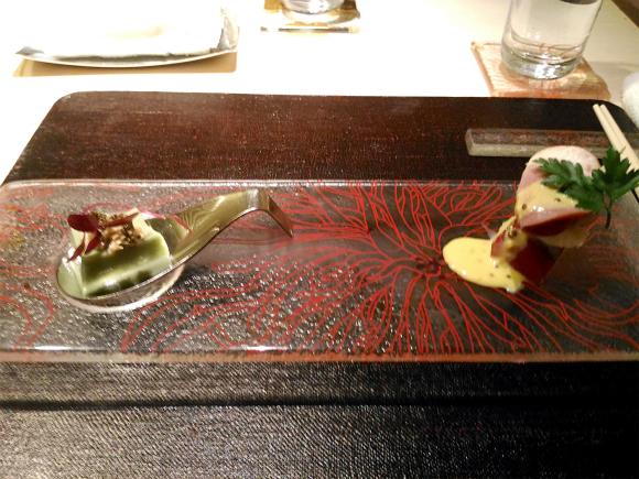 一皿 クレソンの胡麻豆腐、レンコンソース 鳴門金時、合鴨、モッツァレラのピンチョス