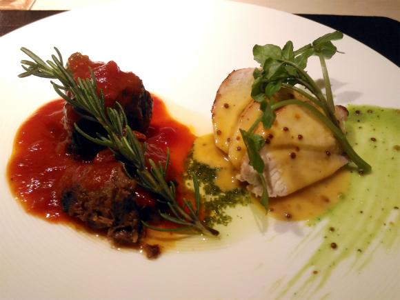 四皿 大山鶏のグリル、粒マスタードソース 牛肉のトマト煮