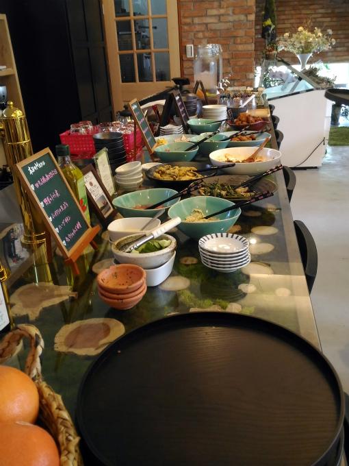 野菜を中心とした 10数種類の料理 をビュッフェ方式で