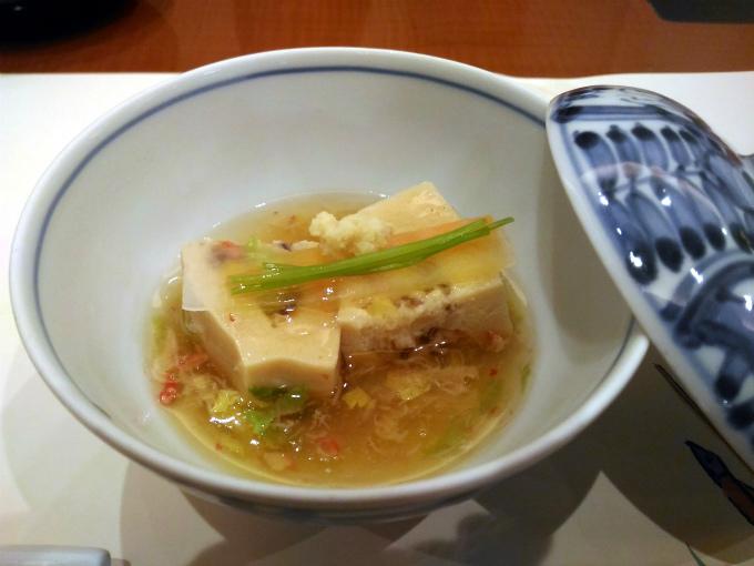 はさみ高野豆腐のかに餡かけ