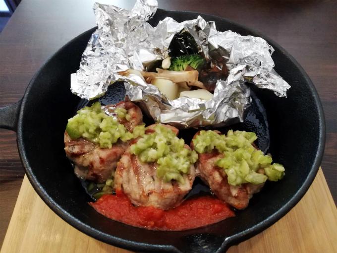 豚フィレ肉のグリルオリーブソース