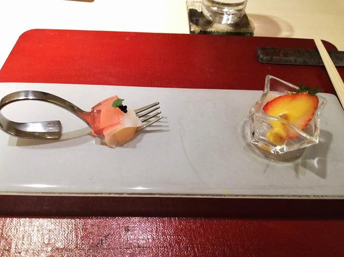一皿 ヤリイカ SUSI スタイル、苺とホタテのミルフィーユ