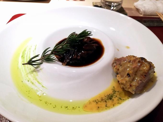四皿 黒豚のヒレ肉ロースト、バジル風味、本日の牛肉料理